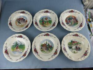 SARREGUEMINES Obernai Loux lot de 6 assiettes à soupes différentes 23 cm A