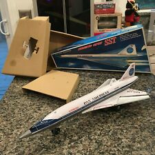 VINTAGE, TIN DAIYA BATTERY OPERATED BOEING 2707 SST FULLY WORKING WITH BOX! RARE
