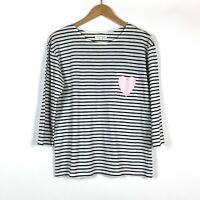 Chinti and Parker Womens Breton Striped Heart Pocket T Shirt Medium Blue White