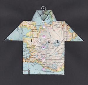 Origami Map Shirt Iceland, Reykjavík, Hvammstangi, Hella, Eyjafallajökull