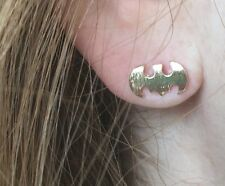 Fashion Jewelry Gold Tone Batman Stud Earring Be Your Own Hero New