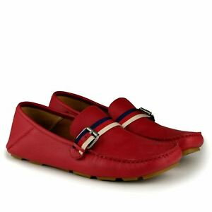 $595 GUCCI Red Leather Driving Loafers Moccasins Sylvie Web Buckle Bee 8.5