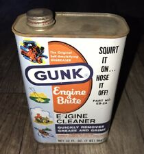 VINTAGE ADVERTISING GUNK DEGREASER ENGINE BRITE ONE QUART OIL CAN GAS