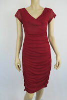 Liz Jordan Ladies Rouched Mesh Dress sizes 10 12 14 Colour Ruby Red