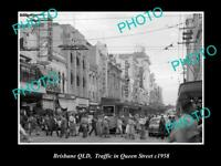 OLD POSTCARD SIZE PHOTO OF BRISBANE QLD QUEEN STREET IN THE CITY c1958