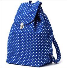BAGGU Navy Polka Dot Canvas Drawstring Backpack Cotton