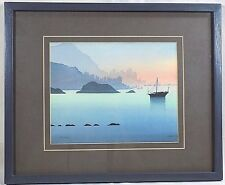 Watercolor Print Hong Kong Harbor 1990 Limited Edition Man Cave Wall Decor