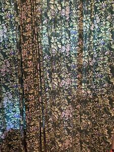 Vtg Laura Ashley BRAMBLE BERRY FLORAL 2 Lined Curtains Rod Pocket Drapes 42×84