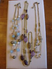 "Lot 3 Multi Strand Necklaces, Mostly Glass Beads, Faux Pearls, Rhinestones / ""C"""