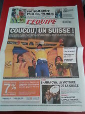 journal  l'équipe 04/07/2004 CYCLISME TOUR DE FRANCE 2004 CANCELLARA FOOT EURO