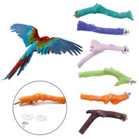 Wood Pet Parrot Raw Fork Stand Rack Toy Hamster Tree Branch Perches Bird Cage OZ