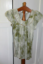 b. friends Ladies Size Medium Green Tie dye Look Top With Gold Trim