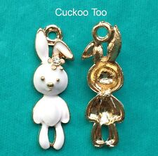 4 x WHITE RABBIT CHARMS -  Gold Plated Enamel Rhinestone Alice