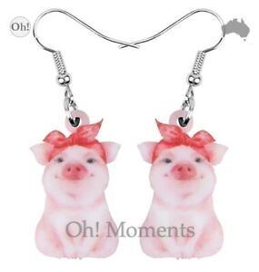 Melbourne Seller! ~ Cutest Pink Pig with Head Scarf Earrings ~ Q505