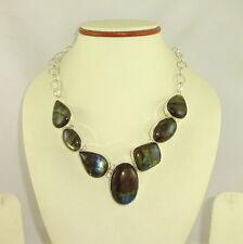Necklace natural labradorite gemstone beaded jewelry 63.5 grams