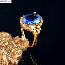 Oval Cubic Zirconia Hollow Pattern Rings For Women Size Adjustable Gold Jewelry