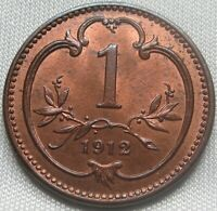 AUSTRIA - HUNGARY 1 heller 1912 BU UNC mint RED #B81
