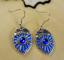 POLICE SHIELD blue Enamel large charm dangle silver hook earrings