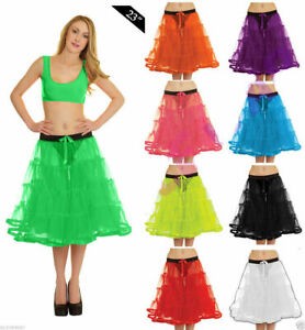 "23""Long 4 Tier Layer Ladies Retro 50s Hen Party Vintage Petticoat Net Skirt Tutu"