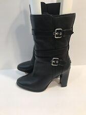 Coach Alexandra Black Leather Boots Buckle Detail Slip On Heeled Size 8 B