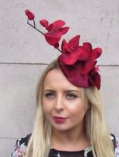 Burgundy Wine Red Velvet Orchid Flower Fascinator Hat Races Hair Clip Vtg 3082