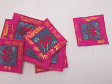 Set of 10 - Pink Teal Embroidered Flower Patch Motif Card Making Crafts #16D113