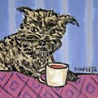 affenpinscher at the coffee cafe picture dog tile art 6x6