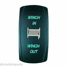 GREEN MOMENTARY ROCKER SWITCH LASER ETCHED 20A 12V WINCH IN/OUT OFFROAD