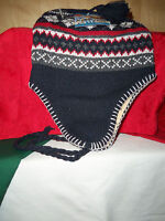 EAR FLAP INSULATED FLEECE LINED KNIT HAT ~ADULT~ RED/GRAY/BLUE NORDIC DESIGN NEW