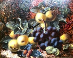 Oliver Clare 19th Century Oil On Board Still life Of Fruit