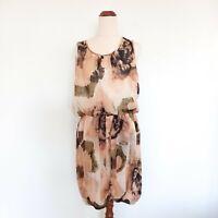 Portmans Dress Size 14 Neutral Watercolour Sleeveless Lightweight Dress Women's