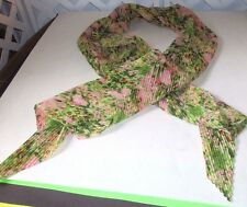 Gorgeous floral pleated scarf pink green