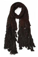 Anthropologie Elizabeth Gillett Scarf Wrap Tassel Lace Fringe Ivory Brown Pink