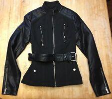 NWOT Womens Buffalo David Bitton Black Faux Leather Trim Motorcycle Jacket XS