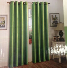 TWO PANEL SAGE GREEN WINDOW PANEL FAUX SILK  GROMMET CURTAIN DRAPES SEMI SHEER