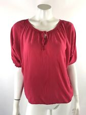 Old Navy Womens Top Size Small Pink Peasant Boho Blouse Tie Neck Shirt