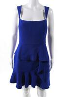 BCBG Max Azria Womens Square Neck Tiered Mini Dress Blue Size 6