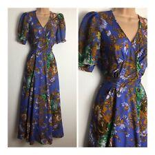 Vintage 70's Violet Tan & Green Floral Print Chiffon Tie Back Boho Maxi Dress 10