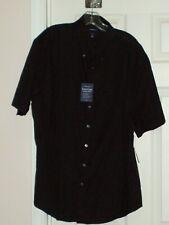 CROFT & BARROW Easy Care SHORT SLEEVE Shirt Button Down BLACK Sz XL NWTS