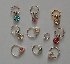 Nail Piercing aus 925 Sterling Silber  Ring und Steinchen ohne Verschlüss