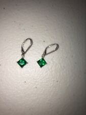 Avon Fashion earrings sterling silver dangle drop simulated emerald green May