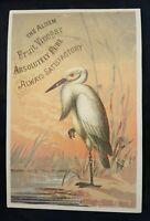 Vintage Antique Victorian Trade Card Alden Fruit Vinegar Crane Stork Bedford, IA