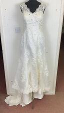 Eternity Bride Wedding Dress with Train Diamante Size UK 14 White
