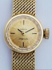 Scarce Vintage Omega Ladymatic 14k Yellow Gold Ladies Wrist Watch 17 Jewels
