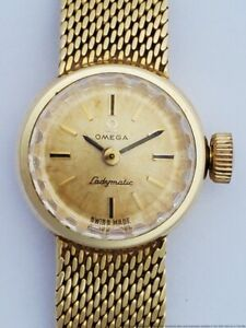 Scarce Vintage Omega Ladymatic 14k Yellow Gold Ladies Wrist Watch 17 Jewels