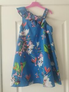 Ted Baker Girls Blue Floral Dress Age 7 Years