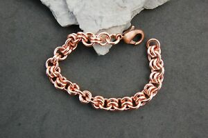 """Solid Copper Link Chain Bracelet Bold Heavy Large 7 3/4"""" Lobster Clasp Handmade"""