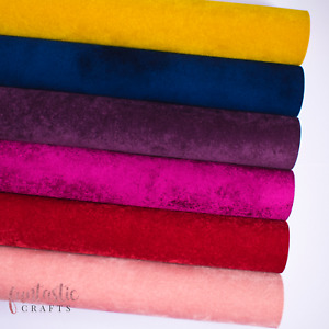 Luxury Velvet Faux Leather Fabric for Crafts & Bows -A4 Velvet Leatherette Sheet
