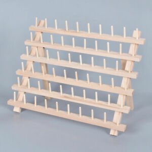 60 Spools Wooden Stand Holder Steady Yarn Shafts Shelf Sewing Embroidery Tool