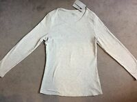 M&S GREY MARL T.SHIRT IN PURE COTTON WITH CREW NECKLINE & LONG SLEEVES - BNWT